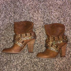 Brown rhinestone heeled boots